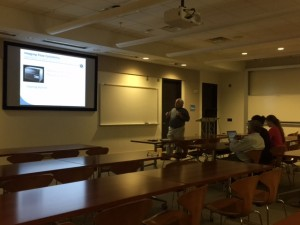 Scott Mordecai gives a presentation about flow cytometry.