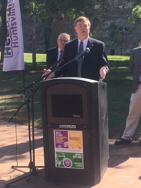 Mayor Tommy Battle and Healthy Huntsville collaborators kick off the 3-day extravaganza April 26, 2017 in Big Spring Park.