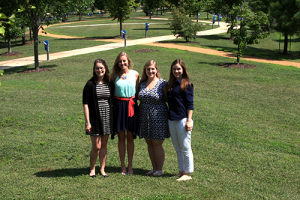Courtney Heckman (second from left) was selected for the 2016 genetic counseling mini-rotation at the HudsonAlpha Institute for Biotechnology. During the two-week program, she worked with HudsonAlpha genetic counselors (from left) Kelly East, Meagan Cochran and Whitley Kelley.